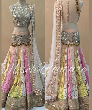 MULTY THREDWORK NYLON NET LEHENGA @ Rs3151.00