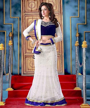 AQUA AND WHITE THREDWORK NYLON NET LEHENGA @ Rs2100.00