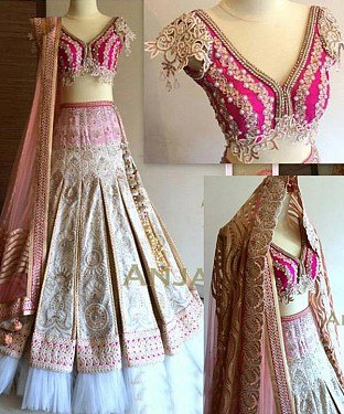 PINK AND WHITE THREDWORK NYLON NET LEHENGA @ Rs3893.00