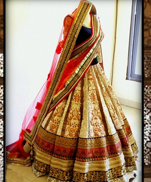 BEIGE AND RED THREDWORK NYLON NET LEHENGA @ Rs3954.00