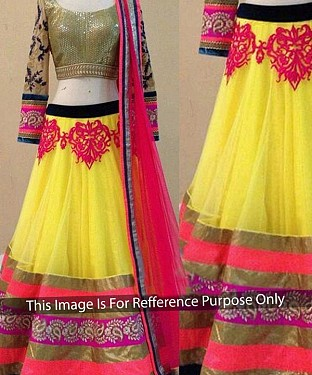 YELLOW AND PINK THREDWORK NYLON NET LEHENGA @ Rs2533.00