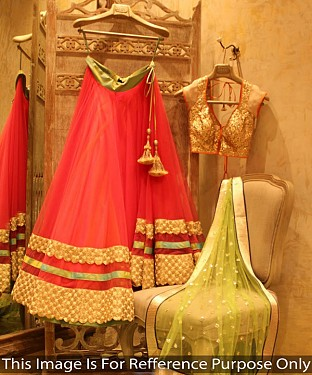 PINK AND GREEN THREDWORK NYLON NET LEHENGA @ Rs1730.00