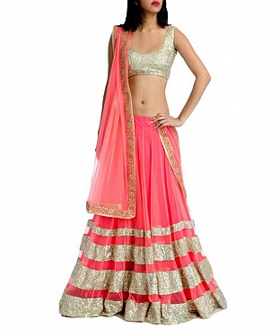 PINK THREDWORK NYLON SILKY GEORGET NET LEHENGA @ Rs2718.00