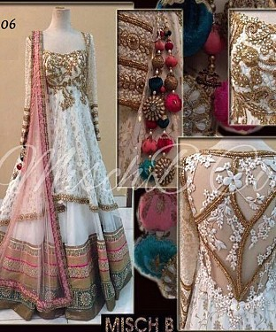 WHITE AND PEACH MULTYWORK RUSSAL NET LEHENGA @ Rs3522.00