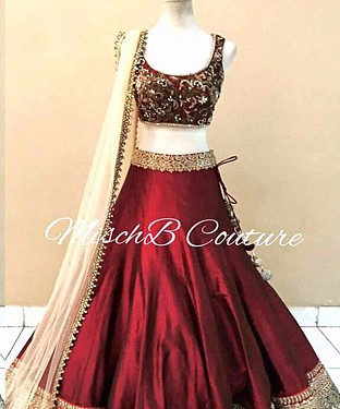 MAROON AND CREAM MULTYWORK BANGLORI LEHENGA @ Rs2780.00