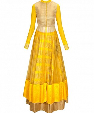 YELLOW MULTYWORK NET LEHENGA @ Rs2657.00