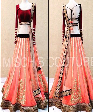 MAROON AND PEACH MULTYWORK VELVET LEHENGA @ Rs3151.00