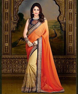 ORANGE THREDWORK CHIFFONE SAREE @ Rs1606.00