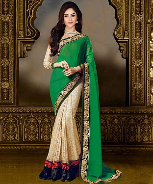 GREEN THREDWORK GEORGETTE SAREE @ Rs1730.00