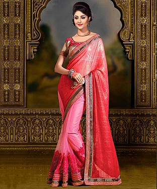 PINK THREDWORK CHIFFONE SAREE @ Rs1915.00