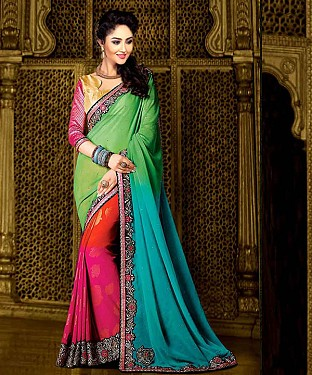 MULTY THREDWORK SPRY 60GM PEDDING SAREE @ Rs1730.00