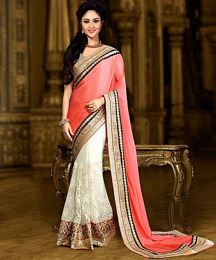 PEACH AND WHITE THREDWORK CHIFFON GEORGETTE SAREE @ Rs2100.00