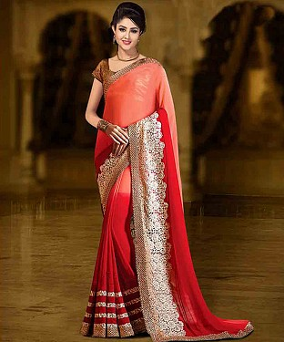 ORANGE AND RED THREDWORK 60GM PEDDING GEORGETTE SAREE @ Rs1730.00