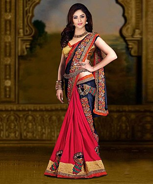 NAVY BLUE AND PINK THREDWORK CHIFFONE PEDDING SAREE @ Rs1544.00