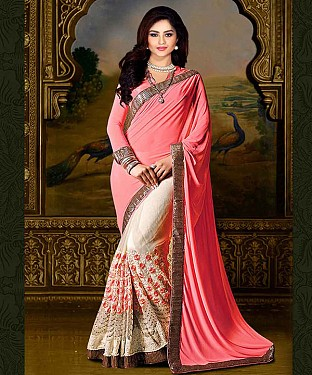 PINK & OFF WHITE THREDWORK CHIFFONE PEDDING SAREE @ Rs1730.00