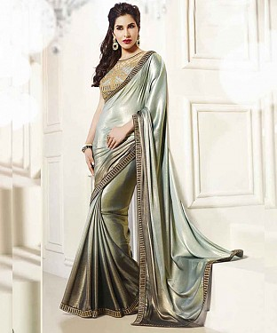 GREY THREDWORK GEORGETTE SAREE @ Rs2039.00
