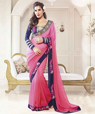 PINK THREDWORK GEORGETTE SAREE @ Rs2286.00