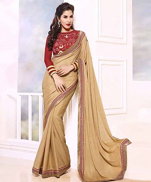 BEIGE THREDWORK GEORGETTE SAREE @ Rs1915.00