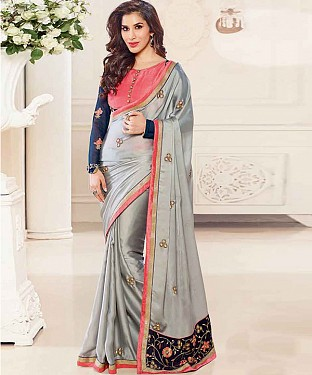 GREY THREDWORK GEORGETTE SAREE @ Rs2224.00