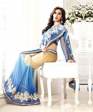 SKY THREDWORK GEORGETTE SAREE @ Rs2286.00