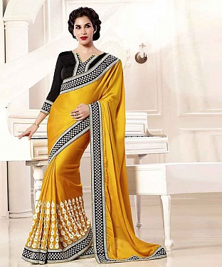 YELLOW THREDWORK GEORGETTE SAREE @ Rs2162.00