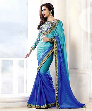 BLUE THREDWORK GEORGETTE SAREE @ Rs1977.00