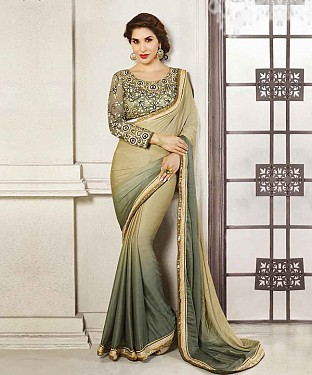 CREAM THREDWORK GEORGETTE SAREE @ Rs1915.00