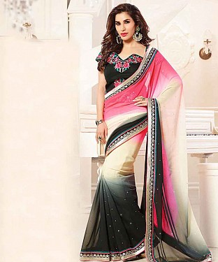 MULTI THREDWORK GEORGETTE SAREE @ Rs1668.00