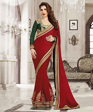 RED THREDWORK GEORGETTE SAREE @ Rs2162.00
