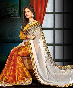 OFFWHITE AND YELLOW THREDWORK GEORGETTE SAREE @ Rs1915.00