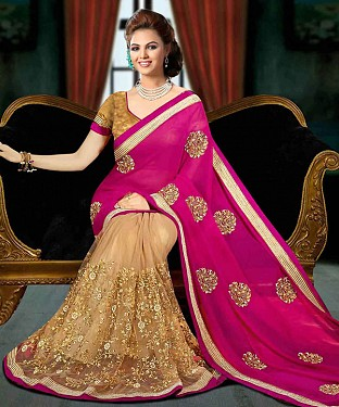 PINK AND BEIGE THREDWORK GEORGETTE SAREE @ Rs1853.00