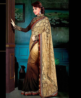 BEIGE AND BROWN THREDWORK GEORGETTE SAREE @ Rs2039.00