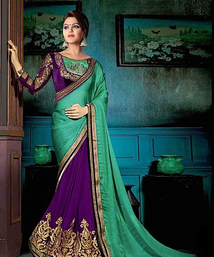 AQUA AND PURPLE THREDWORK GEORGETTE SAREE @ Rs2100.00