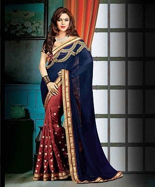 NAVY AND BROWN THREDWORK GEORGETTE SAREE @ Rs1730.00