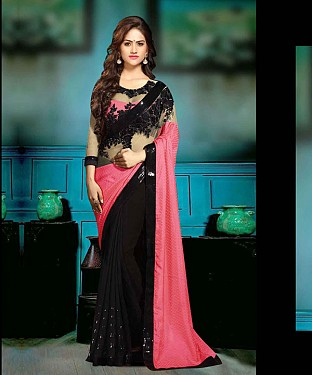 BLACK AND PINK THREDWORK GEORGETTE SAREE @ Rs1915.00