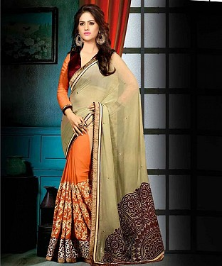 BEIGE AND ORANGE THREDWORK GEORGETTE SAREE @ Rs2471.00