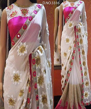 WHITE AND PINK MULTY WORK BANGLORI & NET SAREE @ Rs2286.00