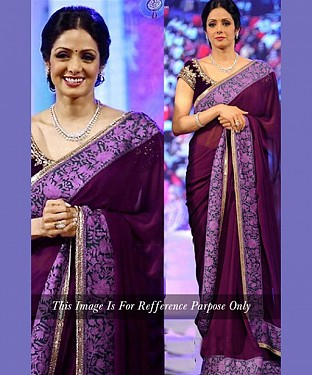 PURPLE MULTY WORK KORA SILK BOLLYWOOD DESIGNER SAREE @ Rs1915.00