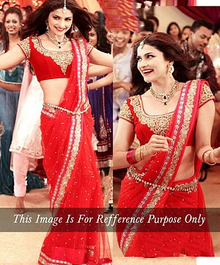 RED MULTY WORK NET BOLLYWOOD DESIGNER SAREE @ Rs2100.00