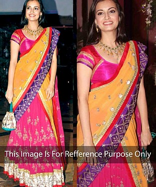 PINK AND YELLOW MULTY WORK CHIFFON BOLLYWOOD DESIGNER SAREE @ Rs1915.00