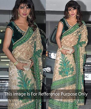 GREEN  AND CREAM MULTY WORK NET BOLLYWOOD DESIGNER SAREE @ Rs2966.00