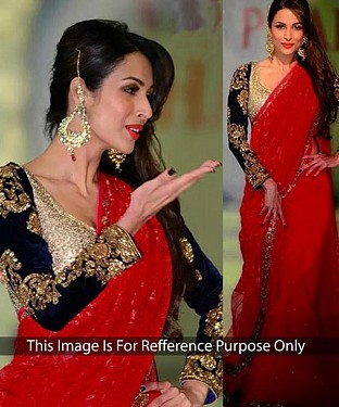 RED MULTY WORK NET BRASSO & NET BOLLYWOOD DESIGNER SAREE @ Rs1977.00