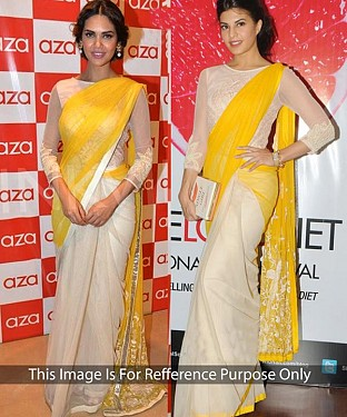 WHITE AND YELLOW MULTY WORK GEORGETTE  BOLLYWOOD DESIGNER SAREE @ Rs1544.00