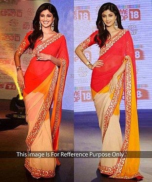 MULTY COLOUR MULTY WORK CHIFFONE GEORGETTE BOLLYWOOD DESIGNER SAREE @ Rs1915.00