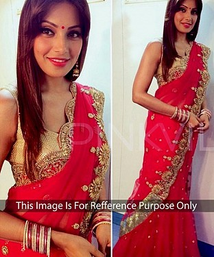 RED MULTY WORK GEORGETTE BOLLYWOOD DESIGNER SAREE @ Rs1977.00
