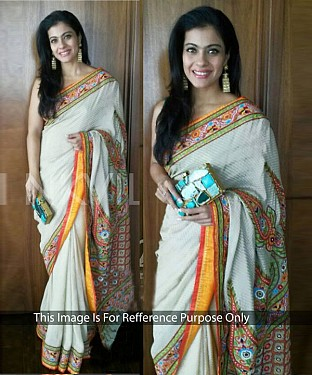 OFF WHITE MULTY WORK JEQUARD GEORGETTE BOLLYWOOD DESIGNER SAREE @ Rs2657.00