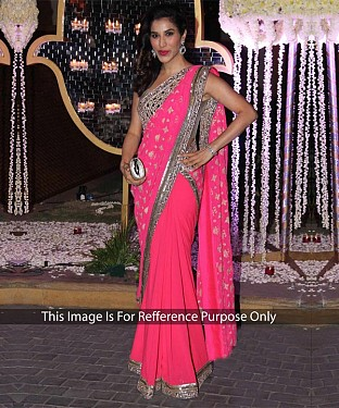 PINK MULTY WORK GEORGETTE BOLLYWOOD DESIGNER SAREE @ Rs1915.00