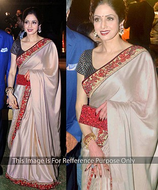 OFF WHITE MULTY WORK SATIN CHIFFON GEORGETTE BOLLYWOOD DESIGNER SAREE @ Rs1915.00