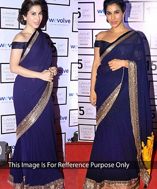 NAVY BLUE MULTY WORK GEORGETTE BOLLYWOOD DESIGNER SAREE @ Rs1730.00