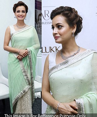 LIGHT GREEN & OFF WHITE MULTY WORK GEORGETTE & NET HALF AND HALF BOLLYWOOD DESIGNER SAREE @ Rs1606.00